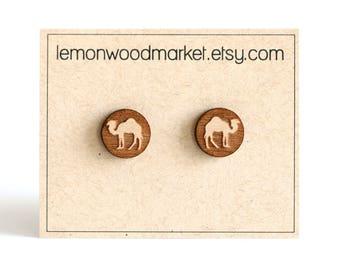 Camel earrings - alder laser cut wood earrings - wooden earrings