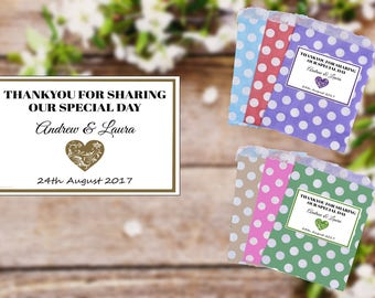 Personalised Wedding Favour - Polka Dot Sweet Bags - Any Name Celebration Labels With Free Uk Postage - Pd1