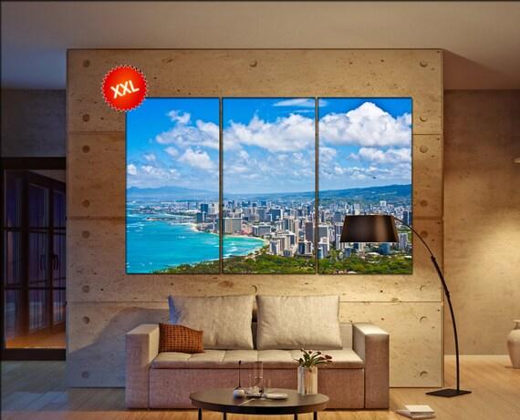 Oahu Skyline wall decor art  Oahu Skyline  black white  Oahu Skyline  canvas wall art  canvas wall art