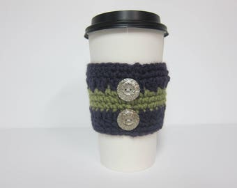 Coffee Cozies, Crocheted Cozies, Button Cozies, Coffee Cup Sleeve, Cozy for Cup, To Go Cup Cozy, Reusable Cup Cozies, Purple Cup Cozy