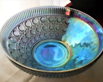 "BLUE Carnival Glass Large Salad Bowl by Indiana Glass Co. ""Windsor"" Pattern"