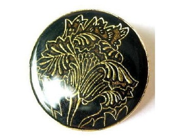 Vintage metal button black with gold color flower  26mm