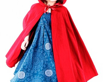Little Red Riding Hood Cape cloak for a child also available in white black green brown pink tan green purple blue cerise yellow festival