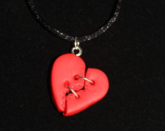 Red Broken Heart Necklace