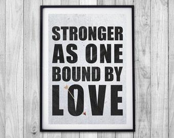 STRONGER AS ONE print, love quote, concrete, black and white, heart arrow, giclee artwork print, digital art, wall art, décor, custom option