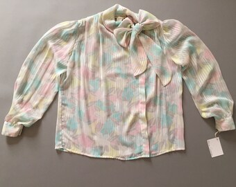 PASTEL BOW blouse   pink, blue, yellow and gray blouse   stripe bow blouse