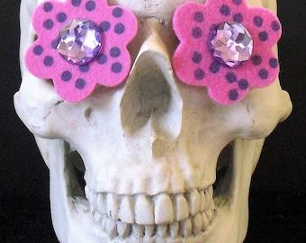 Polka-Dotted Funky Felt Flowers Earrings