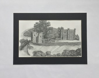 Abergavenny Castle 1955. Pen and ink illustration. A4 black and white print
