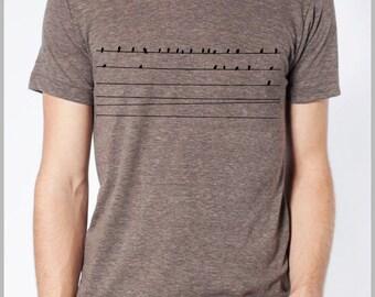 Birds on Wires Men's T shirt Animal Nature tshirt American Apparel handmade hand printed Unisex Graphic Tee Shirt back to school