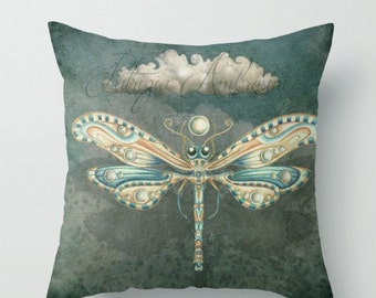 Throw Pillow Cover with pillow, insert, Indoor Dragonfly of the moon. anima.  art - woodland, fine, living room - childrens. nursery- babies