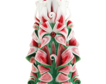 Carved candle green red and white