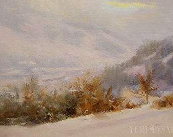 Original artwork oil painting, Landscape art winter in mountains, Nature painting white canvas art