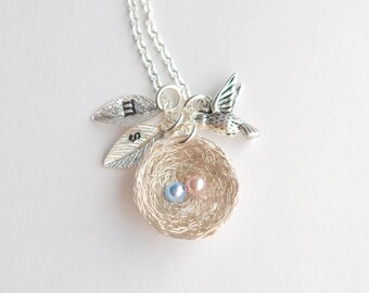 2 Eggs Bird's Nest Necklace, Twin Baby Shower Gift, Personalized Nest, Angel Baby Memorial, Pregnancy Loss Necklace, Miscarriage Jewelry