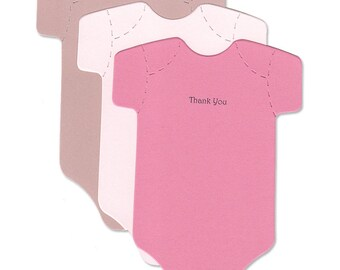 Cute Baby Thank-You Cards - Pink and Brown Baby Girl Die-Cut Thank You Notes - Baby Shower Cards