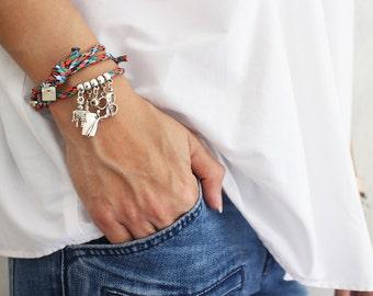Cord bracelet charm - cleaver, hope ribbon, scissors, robot, bell
