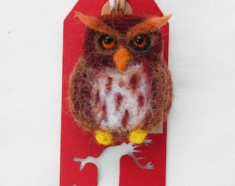 Owl brooch needle felted owl brooch pin  Woodland animals brooches
