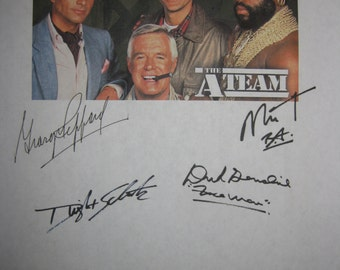 The A Team Signed TV Pilot Screenplay Script X4 Autograph George Peppard Mr. T Dwight Schultz Dirk Benedict signature classic TV 80s show