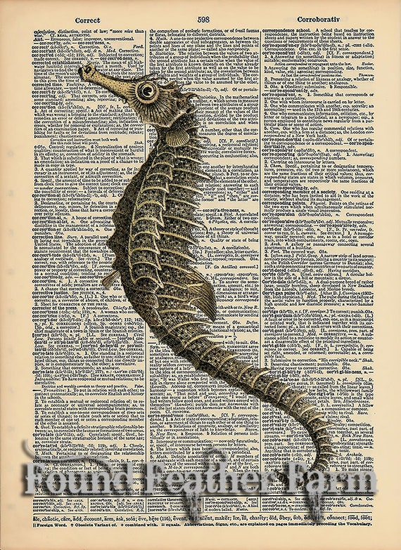 """Vintage Antique Dictionary Page with Antique Print """"Seahorse"""""""
