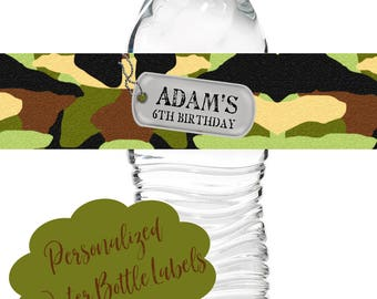 Army Birthday Party, Camo water bottle labels,Camoflauge, Camo Stickers, Army party decorations, Military Party, labels,waterbottle