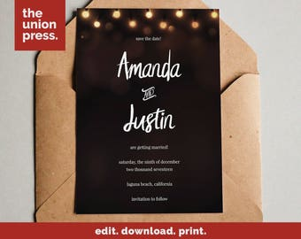 Rustic Wedding Save The Date Printable - Rustic Save The Date Template