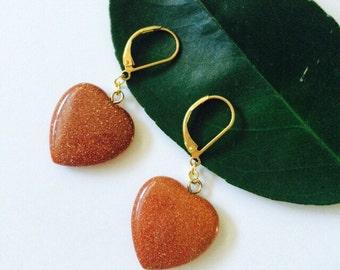 Goldstone Heart Earrings.