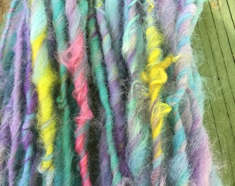 Handspun Alpaca and Mohair Art yarn lockspun hand dyed bulky chunky knitting supplies crochet  Waldorf doll hair  mohair