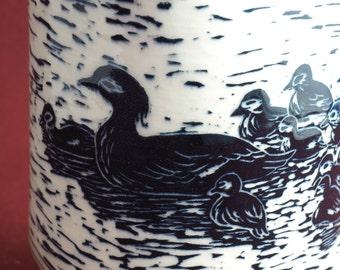 Sgraffito Carved Ceramic Art Jar - Lidded Jar - Ceramic Jar - Dog Treats Jar - Cookie Jar - Pottery Container - Black and White - Bird Art