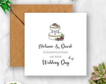 Personalised Wedding Congratulations with Cake Card, Wedding Card, Wedding Day Card, Card for Wedding, Congratulations Wedding, Personalised