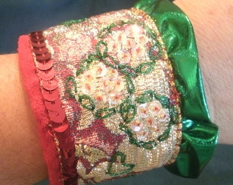 Festive Red and Green Ribbon, Lace, Hand Sewn Sequin and Beaded Holiday Cuff Bracelet