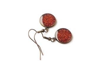 Copper Glitter Earrings, Antique Bronze Plated Resin Drop Earrings, Dark Orange Earrings, Orange Jewellery, Resin Jewellery, UK Seller