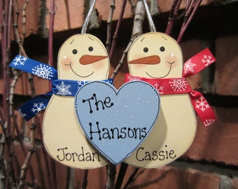 Personalized Ornament, Snowmen Couple Ornament, Family Ornament, Personalized Couple Christmas, Personalized Snowman Family, Last Name