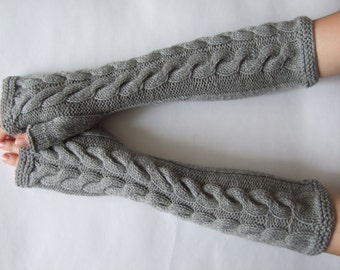 LONG light GRAY fingerless gloves, wrist warmers, fingerless mittens. Handmade, knitted of pure WOOL.
