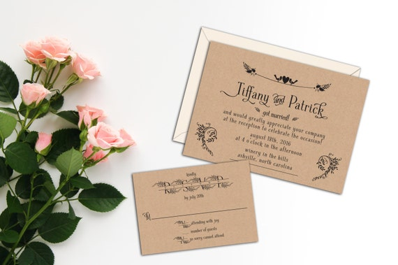 Sweet Birds Heart Rustic Elopement Invitation, Wedding Invitation, Response Cards, Thank Yous, Custom After the Wedding Party Invitation