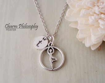 Yoga Tree Pose Necklace - Antique Silver Yoga Charm - Personalized Monogram Initial Necklace