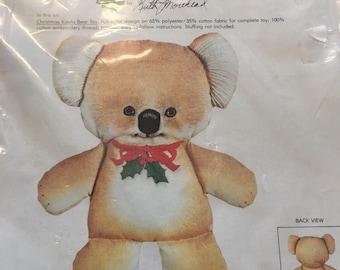 Retro crewel christmas koala bear toy kit by Columbia Minerva 1979 unopened