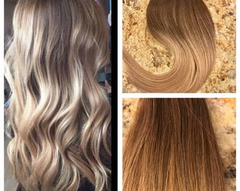 """Full Cuticle Remy Double Drawn Balayage Ombre Tape-in Seamless weft 20"""" Hair Extensions 20pcs"""