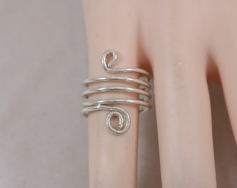 Silver Swirl Loop Wire Wrap Ring Size 5 3.5g