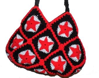 Crochet Bag * RED STARS * Granny Square