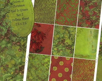 Instant Download Digital Collage Sheet - ATC ACEO 2.5 x 3.5 size - Christmas - Colors of Christmas, Red and Green Backgrounds Set  2