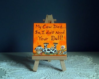 Secret Santa, Cubicle decor, Cow painting, Desk art, Whimsical gift, Stocking Stuffer, Office decor,