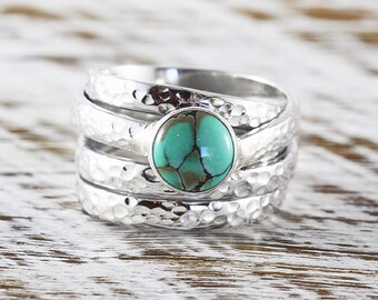 Turquoise Ring Hammered Ring Sterling Silver Ring Turquoise Silver Ring Turquoise Jewelry Boho Ring Gift For Her December Birthstone