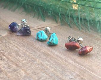 Chakra Stud Earrings    Tiny Earrings    Semi Precious Earrings    Raw Stone Earrings    Gemstone Earrings    Tiny Studs    Stone Studs
