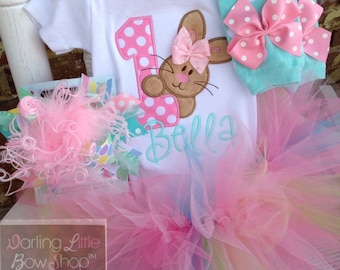 First Birthday Tutu Outfit, Some Bunny Is One bodysuit, leg warmers, tutu, bow in aqua, pink, mint