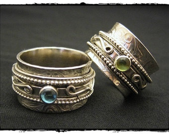 MADE TO ORDER - Harmony Bead Twiddle Spinner Ring with Gem Stones