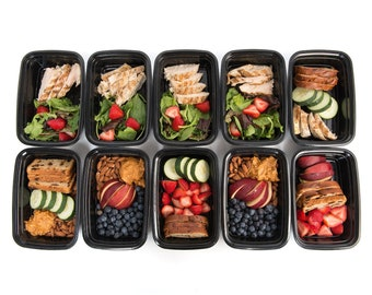 20 Piece Meal Prep 1 Compartment Food Storage Containers Durable BPA Plastic Reusable Portion Control 21 Day Fix Weight Loss Fitness