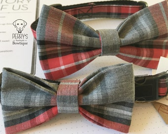 Red/Gray Bow Tie and Collar