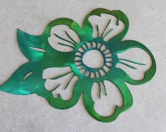 Metal Flower Wall Art green and yellow