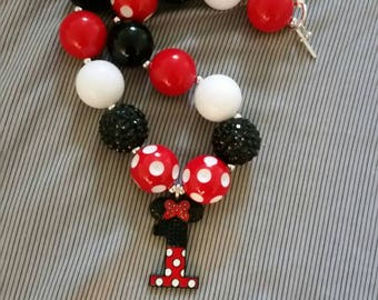 Minnie Mouse 1st birthday chunky bead necklace