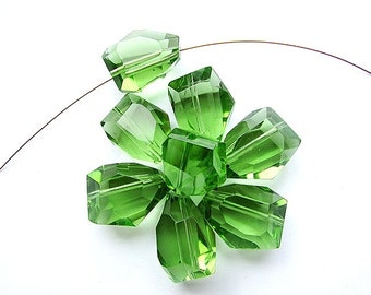 Green Nugget Glass Beads 20 x 25 mm Large Transparent Green Beads Spring Green Beads Craft Supply Jewelry Supplies (4)
