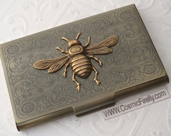 Brass Bee Business Card Case Bee Case Vintage Style Steampunk Case Gothic Victorian Scroll Pattern Metal Card Holder